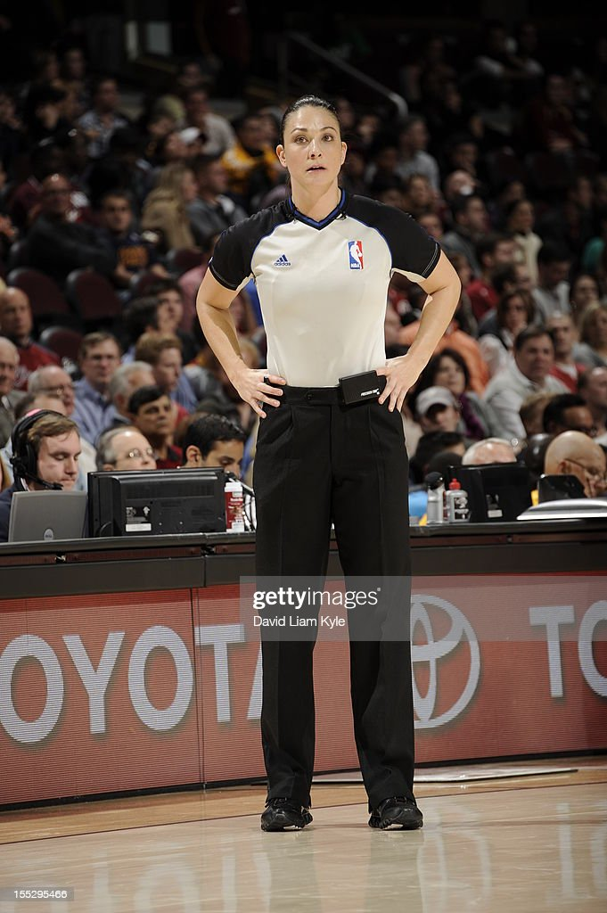 <a gi-track='captionPersonalityLinkClicked' href=/galleries/search?phrase=Lauren+Holtkamp&family=editorial&specificpeople=9930315 ng-click='$event.stopPropagation()'>Lauren Holtkamp</a> officiates the Cleveland Cavaliers vs Chicago Bulls at The Quicken Loans Arena on November 2, 2012 in Cleveland, Ohio.