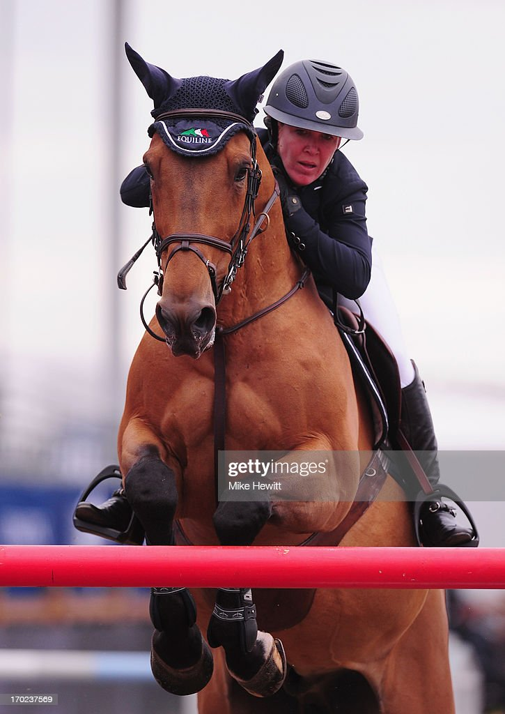 Lauren Hough of US in action on Quick Study during the Longines Global Champions Tour of London on Day Four at Olympic Park on June 9, 2013 in London, England.