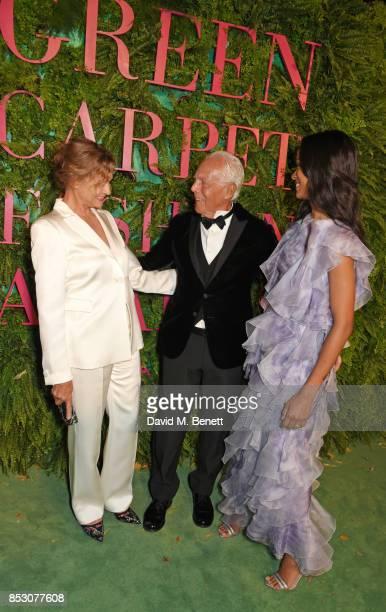 Lauren Hutton Giorgio Armani and Zoe Saldana attend the Green Carpet Fashion Awards Italia wearing Giorgio Armani for the Green Carpet Challenge at...