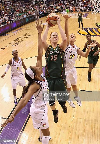 Lauren Jackson #5 of the Seattle Storm puts up a shot under pressure from Tangela Smith and Penny Taylor of the Phoenix Mercury in Game Two of the...