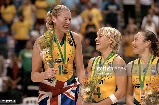 Lauren Jackson and Erin Philips of Australia on the medal stand after the gold medal game between Australia and Russia during the 2006 FIBA World...