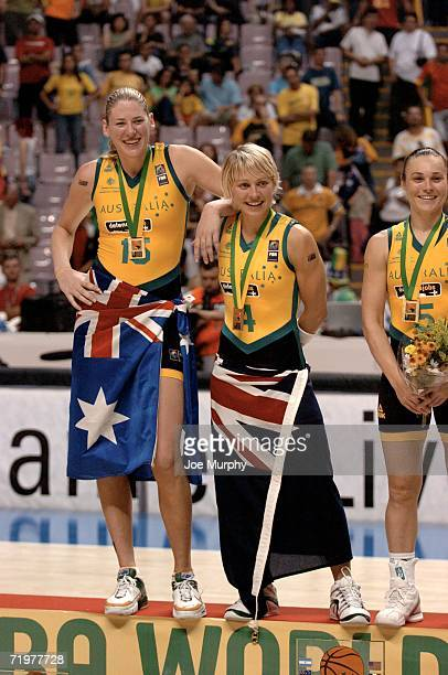 Lauren Jackson and Erin Philips of Australia smile on the medal stand during the gold medal game between Australia and Russia during the 2006 FIBA...