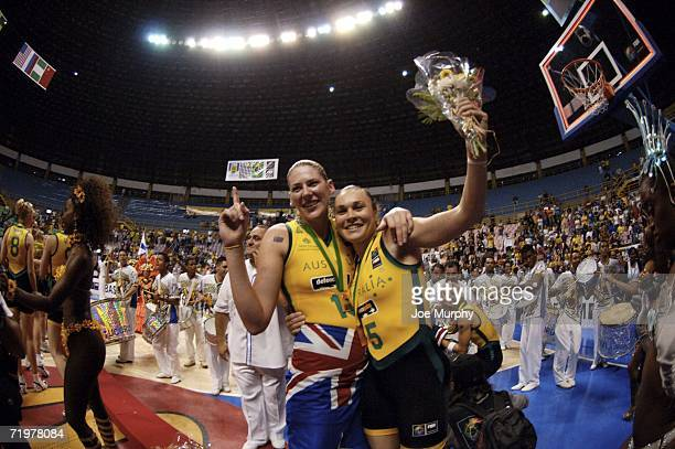Lauren Jackson and Tully Belivaqua of Australia celebrate after wining the gold medal game between Australia and Russia during the 2006 FIBA World...