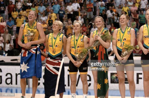 Lauren Jackson Erin Philips Tully Belivaqua Jennifer Screen and Penelope Taylor of Australia on the medal stand after the gold medal game between...