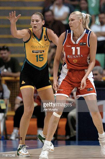 Lauren Jackson of Australia and Maria Stepanova of Russia during the gold medal game between Australia and Russia during the 2006 FIBA World...