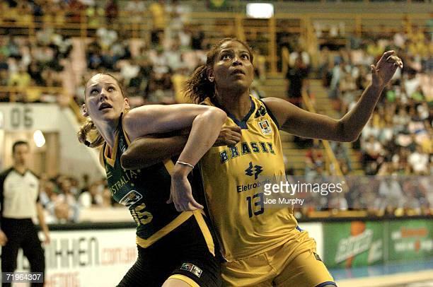 Lauren Jackson of Australia blocks out Alessandra Santos de Oliveira of Brazil during a game between Brazil and Australia during the 2006 FIBA World...
