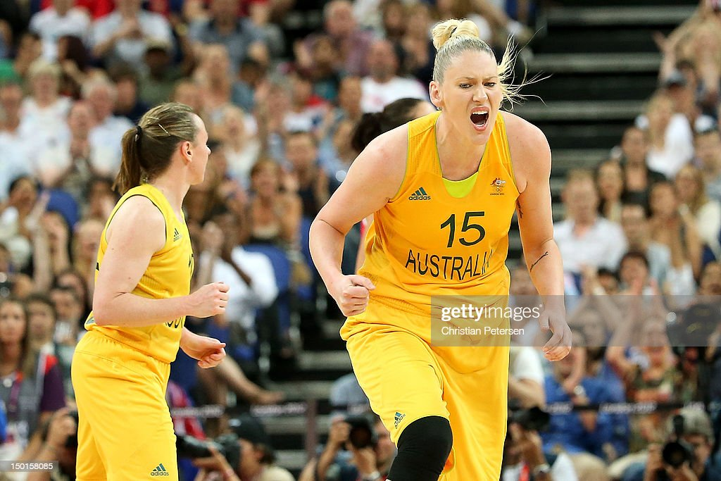 Lauren Jackson of Australia celebrates in the second half against Russia during the Women's Basketball Bronze Medal game on Day 15 of the London 2012...