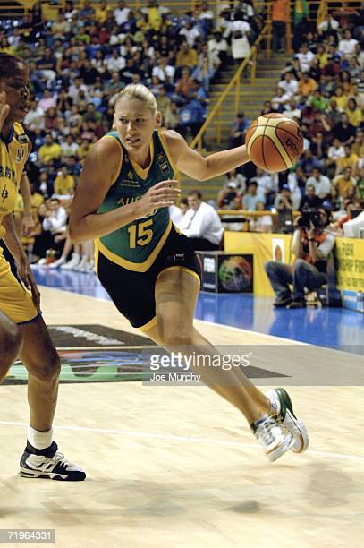 Lauren Jackson of Australia drives to the basket during a game between Brazil and Australia during the 2006 FIBA World Championship For Women at...