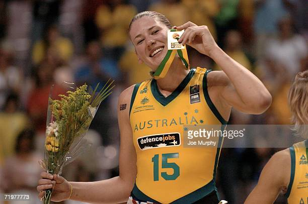 Lauren Jackson of Australia holds up her gold medal on the medal stand after the gold medal game between Australia and Russia during the 2006 FIBA...