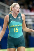 Lauren Jackson of Australia in Women's Gold Medal Match during the Athens 2004 Olympic Games in Athens Greece on August 28 2004 United States defeat...