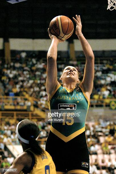 Lauren Jackson of Australia shoots during a game between Brazil and Australia during the 2006 FIBA World Championship For Women at Constancio Vaz...