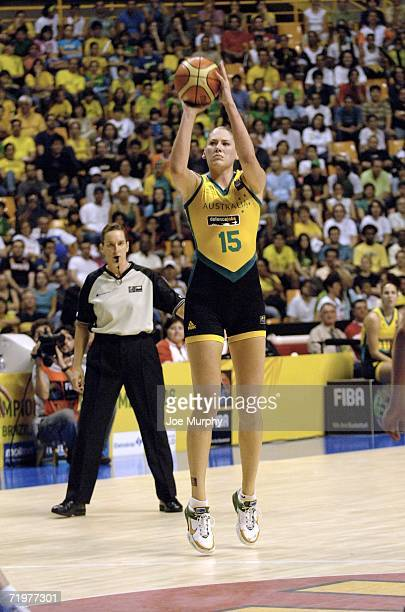 Lauren Jackson of Australia shoots during the gold medal game between Australia and Russia during the 2006 FIBA World Championship For Women at...
