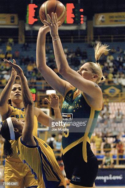 Lauren Jackson of Australia shoots over Janeth Arcain of Brazil during a game between Brazil and Australia during the 2006 FIBA World Championship...