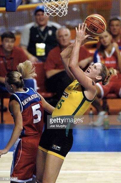 Lauren Jackson of Australia shoots over Oxana Rakhmatulina of Russia during the gold medal game between Australia and Russia during the 2006 FIBA...