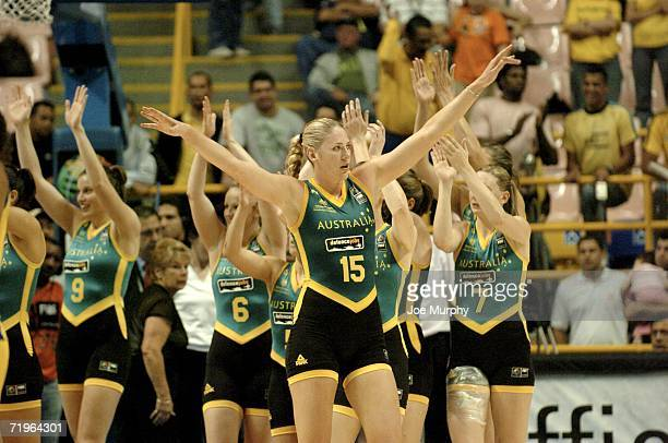 Lauren Jackson of Australia waves to the crowd after their victory during a game between Brazil and Australia during the 2006 FIBA World Championship...