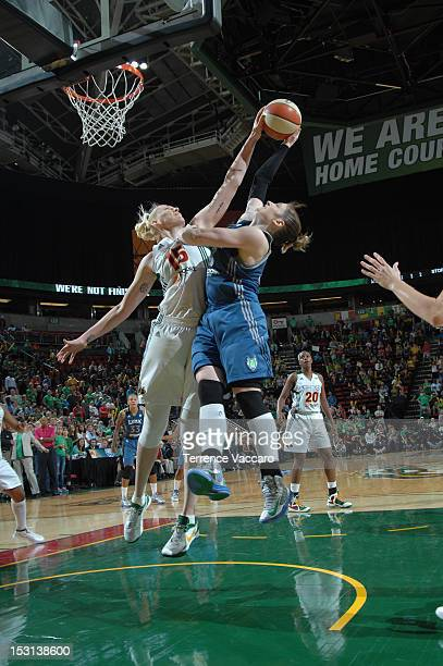 Lauren Jackson of the Seattle Storm block a shot attempt made by Lindsay Whalen of the Minnesota Lynx during Game 2 of the Western Conference...