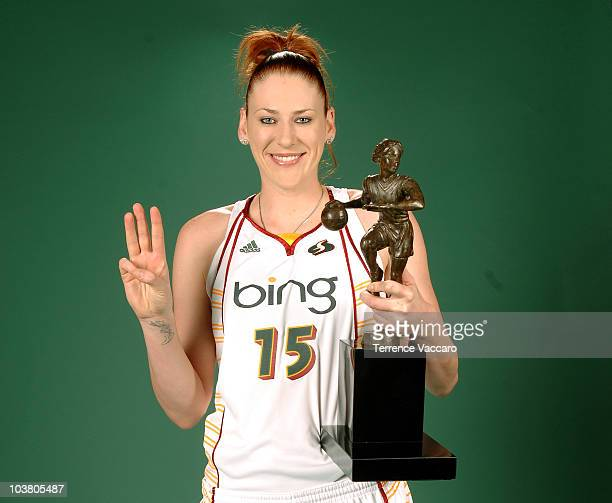 Lauren Jackson of the Seattle Storm poses with the Most Valuable Player award before the game against the Phoenix Mercury in Game One of the 2010...