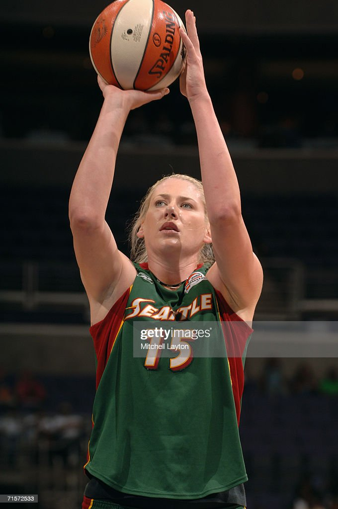 Lauren Jackson #15 of the Seattle Storm shoots a free throw during a game against the Washington Mystics at MCI Center on July 23, 2006 in Washington, D.C. The Storm won 73-71.