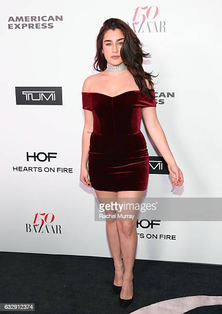 Lauren Jauregui attends Harper's BAZAAR celebration of the 150 Most Fashionable Women presented by TUMI in partnership with American Express La Perla...