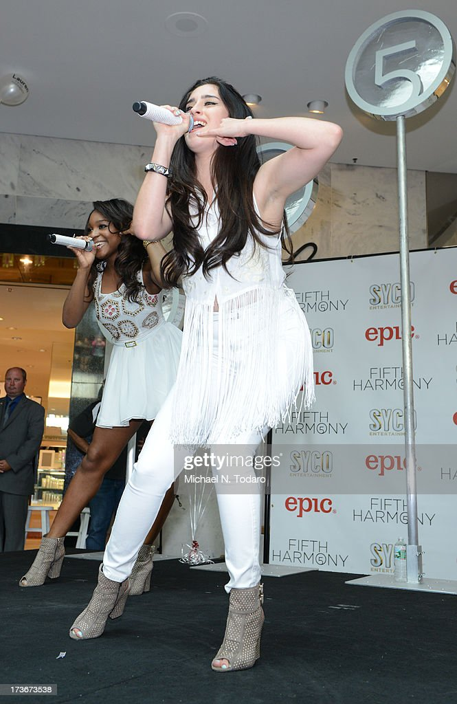 Lauren Jauregui of Fifth Harmony peforms at Garden State Plaza on July 16, 2013 in Paramus, New Jersey.