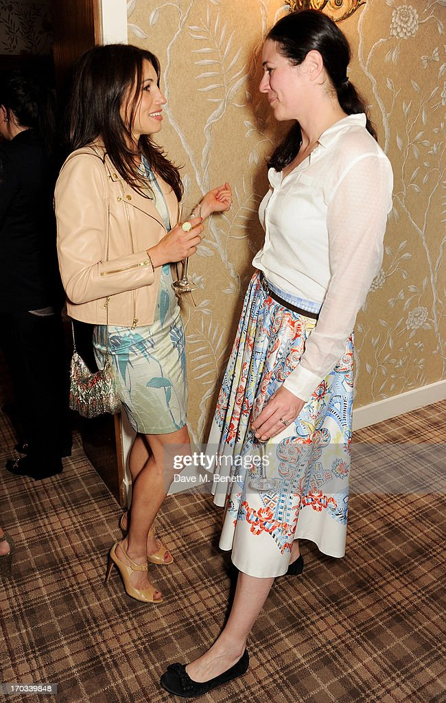 Lauren Kemp (L) and Claire James attend a private dinner previewing the new 'Alex James Presents' Blue Monday cheese at The Cadogan Hotel on June 11, 2013 in London, England.