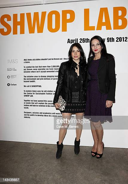 Lauren Kemp and Yasmin Mills attend the launch of MS Shwopping at the Shwop Lab on April 26 2012 in London England