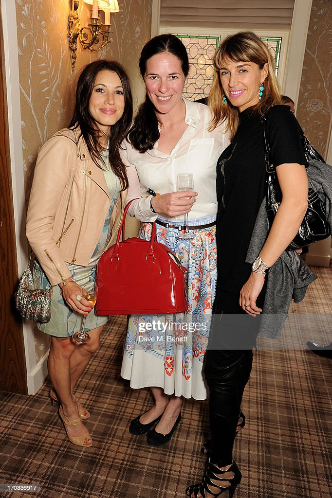 Lauren Kemp, Claire James and Anastasia Webster attend a private dinner previewing the new 'Alex James Presents' Blue Monday cheese at The Cadogan Hotel on June 11, 2013 in London, England.