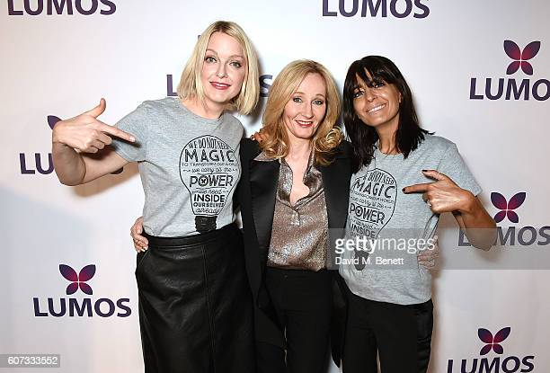 Lauren Laverne JK Rowling and Claudia Winkleman attend the Lumos Fundraiser in aid of JK Rowling's international nonprofit organization Lumos on...