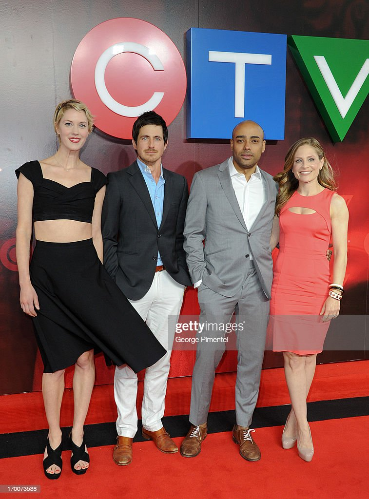 Lauren Lee Smith, Craig Olejnik, Rainbow Franks, Tara Spencer-Nairn, from 'The Listener' attend CTV Upfront 2013 Presentation at Sony Centre For Performing Arts on June 6, 2013 in Toronto, Canada.