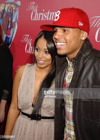Lauren London and Chris Brown at the 'This Christmas' premiere at the Cinerama Dome on November 12 2007 in Hollywood California