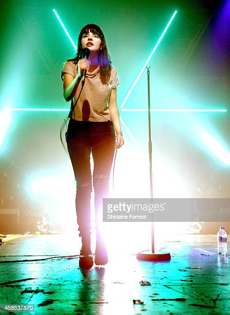 Lauren Mayberry of Chvrches performs a sold out show at Manchester Academy on November 6 2014 in Manchester England