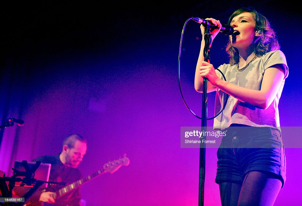 Lauren Mayberry of Chvrches performs a sold out show at The Ritz, Manchester on October 14, 2013 in Manchester, England.
