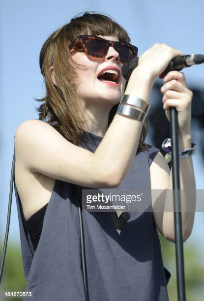 Lauren Mayberry of Chvrches performs as part of the Coachella Valley Music and Arts Festival at The Empire Polo Club on April 12 2014 in Indio...