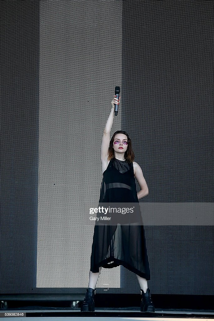 Lauren Mayberry of Chvrches performs during the second day of the Bonnaroo Music and Arts Festival on June 10, 2016 in Manchester, Tennessee.