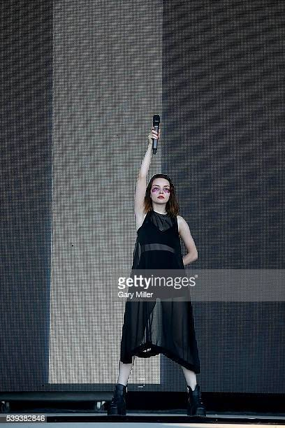Lauren Mayberry of Chvrches performs during the second day of the Bonnaroo Music and Arts Festival on June 10 2016 in Manchester Tennessee