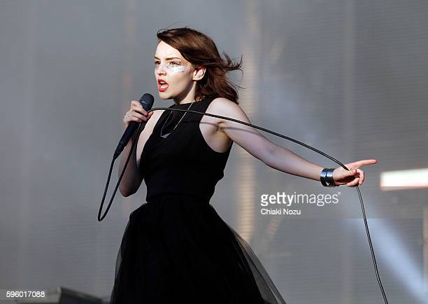 Lauren Mayberry of Chvrches performs on Day 1 of Reading Festival at Richfield Avenue on August 26 2016 in Reading England