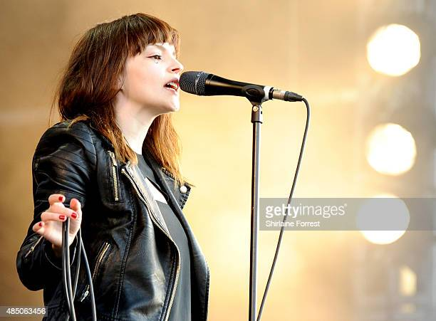 Lauren Mayberry of Chvrches performs on Day 2 of the V Festival at Weston Park on August 23 2015 in Stafford England