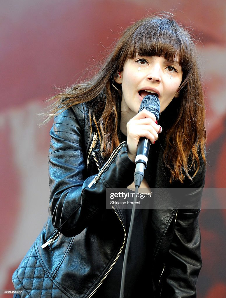 Lauren Mayberry of Chvrches performs on Day 2 of the V Festival at Weston Park on August 23, 2015 in Stafford, England.