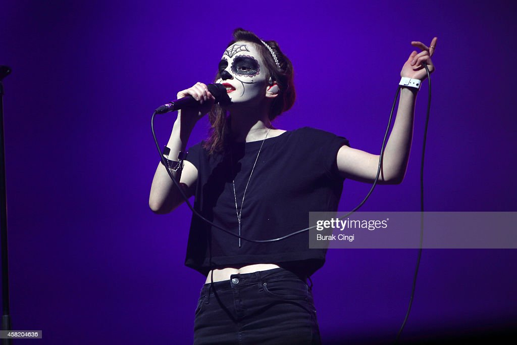 Lauren Mayberry of Chvrches performs on stage for Pitchfork Music Festival at Grande Halle de La Villette on October 31, 2014 in Paris, France.