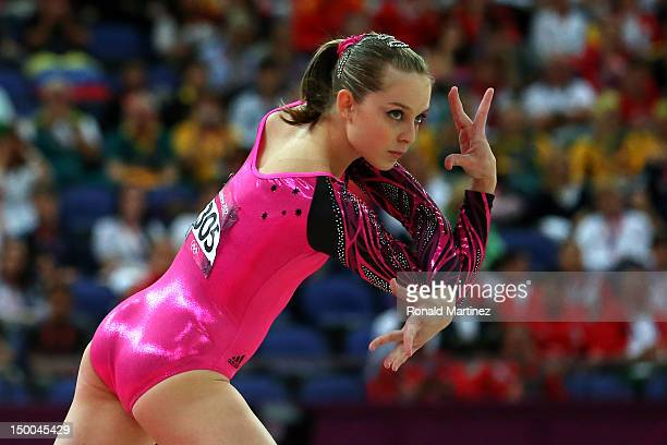 Lauren Mitchell of Australia competes in the Artistic Gymnastics Women's Floor Exercise final on Day 11 of the London 2012 Olympic Games at North...