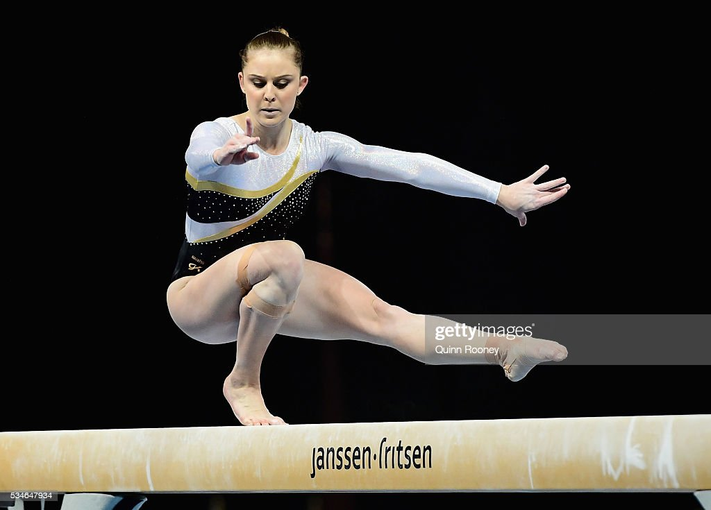 Lauren Mitchell of Western Australia competes on the beam during the 2016 Australian Gymnastics Championships at Hisense Arena on May 27 2016 in...
