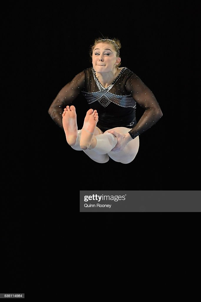 <a gi-track='captionPersonalityLinkClicked' href=/galleries/search?phrase=Lauren+Mitchell+-+Gymnast&family=editorial&specificpeople=3094478 ng-click='$event.stopPropagation()'>Lauren Mitchell</a> of Western Australia competes on the floor during the 2016 Australian Gymnastics Championships at Hisense Arena on May 29, 2016 in Melbourne, Australia.