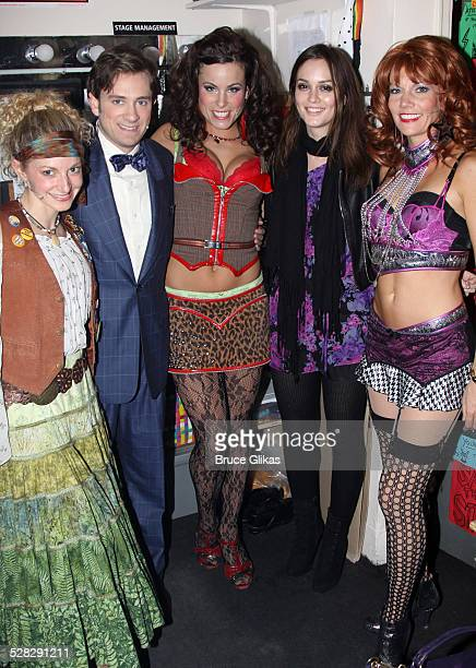 Lauren Molina Tom Lenk Katherine Tokarz Leighton Meester and Jenifer Foote pose backstage at the hit musical Rock of Ages on Broadway at The Brooks...