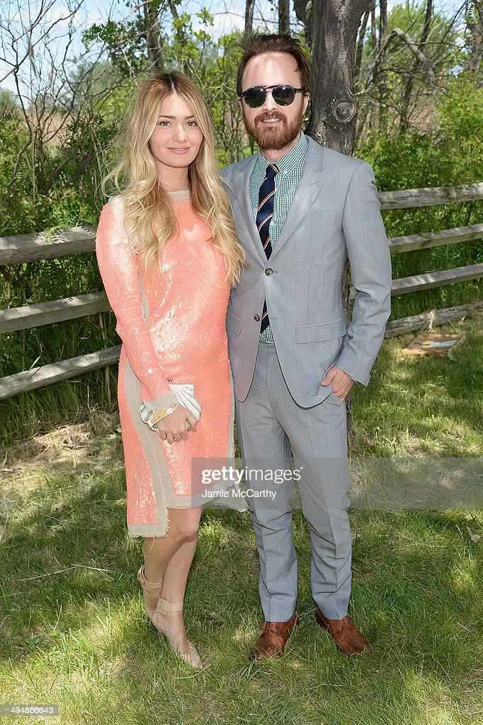 Lauren Parsekian and Aaron Paul attend the seventh annual Veuve Clicquot Polo Classic in Liberty State Park on May 31 2014 in Jersey City City