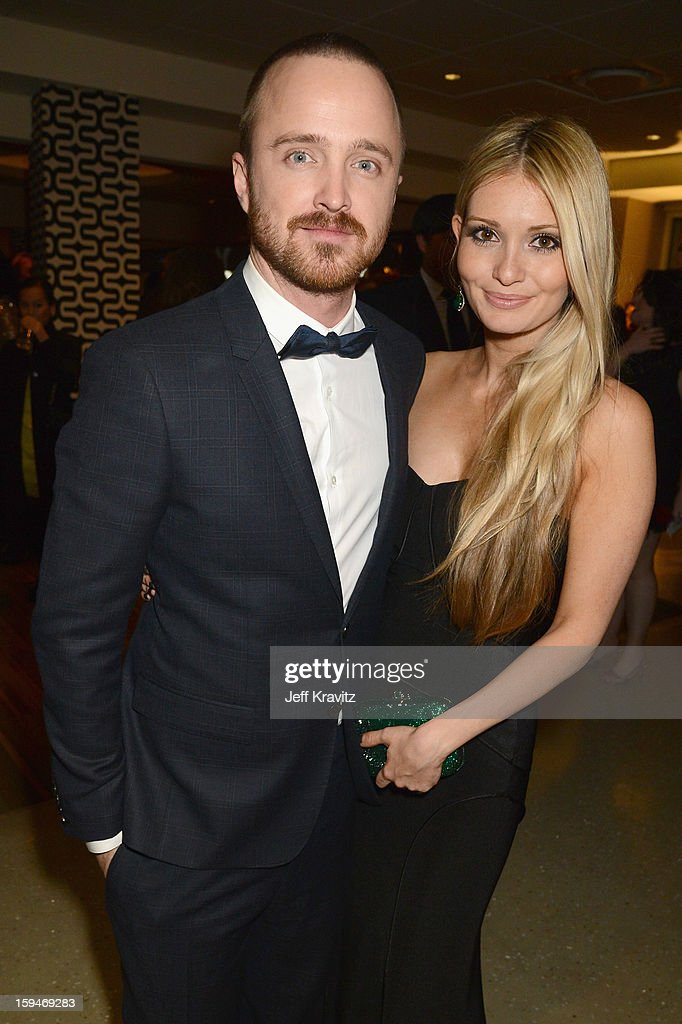 Lauren Parsekian and actor Aaron Paul attend HBO's Official Golden Globe Awards After Party held at Circa 55 Restaurant at The Beverly Hilton Hotel on January 13, 2013 in Beverly Hills, California.