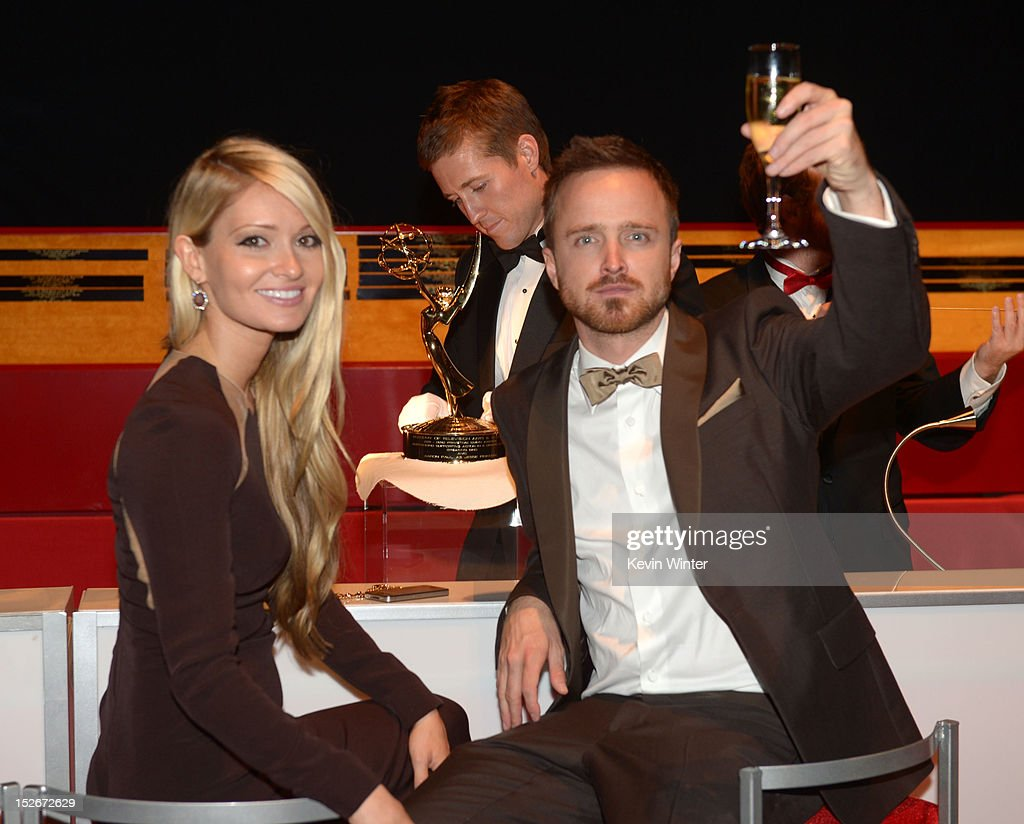 Lauren Parsekian and actor Aaron Paul attends the 64th Annual Primetime Emmy Awards Governors Ball at Nokia Theatre L.A. Live on September 23, 2012 in Los Angeles, California.