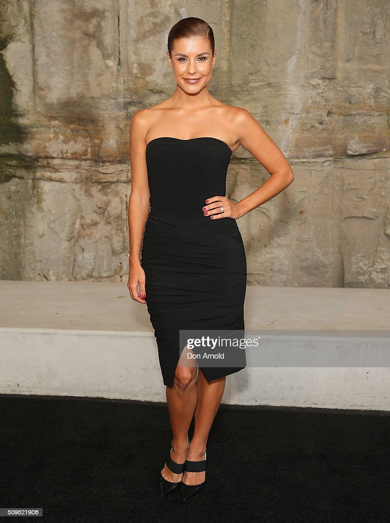 Lauren Phillips arrives ahead of the Myer AW16 Fashion Launch at Barangaroo Reserve on February 11, 2016 in Sydney, Australia.