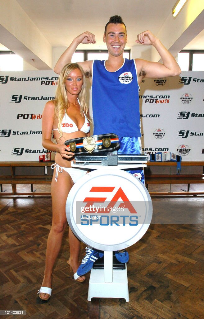 Lauren Pope and Quinten Hann during Hann vs King 'Pot Whack' Pre Fight WeighIn at Dagenham Boxing Club in London Great Britain