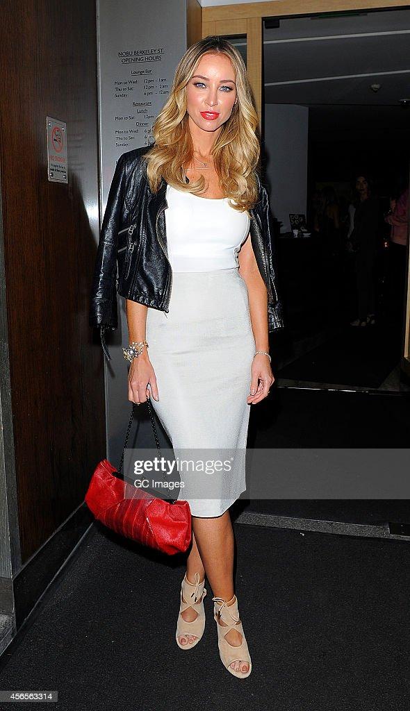 Lauren Pope arrives at Nobu Berkeley Street restaurant in Mayfair on October 2 2014 in London England