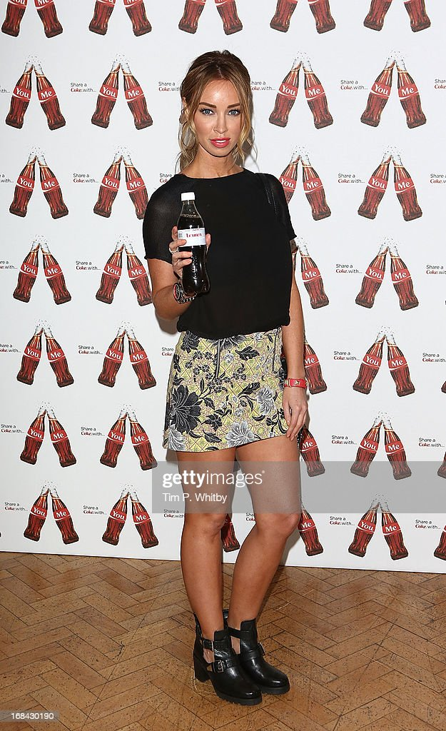 Lauren Pope with her personalised Diet Coke bottle at the launch of Coca-Cola's, Share a Coke campaign at One Marylebone on May 9, 2013 in London, England.